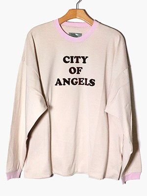 VOTE MAKE NEW CLOTHES(ヴォート・メイク・ニュー・クローズ)/ CITY OF ANGELS RINGER L/S TEE -PINK-