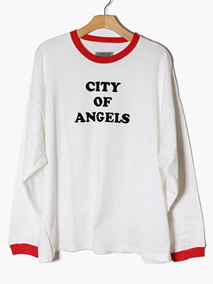 VOTE MAKE NEW CLOTHES(ヴォート・メイク・ニュー・クローズ)/ CITY OF ANGELS RINGER L/S TEE -WHITE-