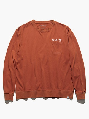 ROARK REVIVAL(ロアークリバイバル)/ LOGO 9.3oz H/W L/S POCKET TEE -TERRACOTTA-