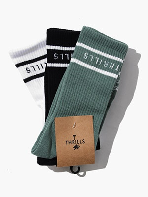 THRILLS(スリルズ)/ MINIMAL THRILLS 3 PACK SOCKS -LUME GREEN/BLACK/WHITE-