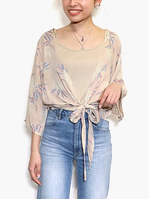 LEONA SURF(レオナサーフ)/ BIG FLOWER TOPS -PINK BEIGE-