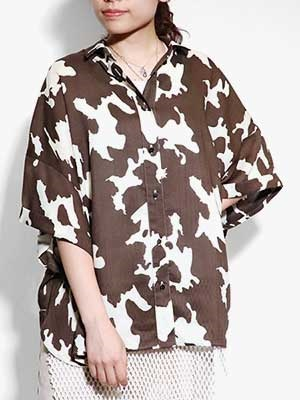 provoke(プロヴォーク)/ cow print shirt -BROWN-Lady's-