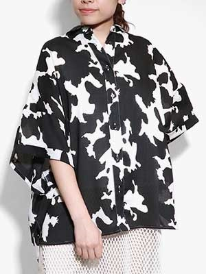 provoke(プロヴォーク)/ cow print shirt -BLACK-Lady's-