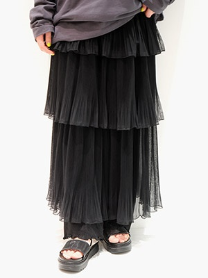 provoke(プロヴォーク)/ TULLE TIERED SKIRT -BLACK-Lady's-