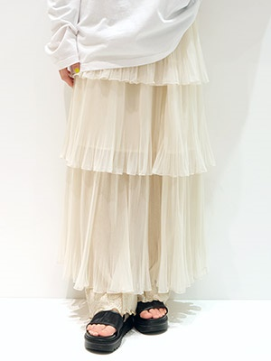 provoke(プロヴォーク)/ TULLE TIERED SKIRT -IVORY-Lady's-