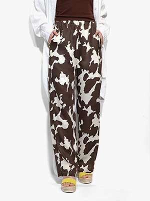 provoke(プロヴォーク)/ cow print easy pants -BROWN-Lady's-
