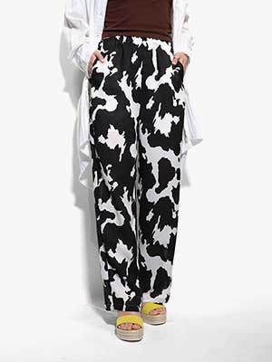 provoke(プロヴォーク)/ cow print easy pants -BLACK-Lady's-