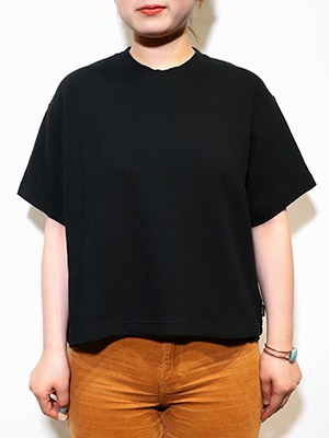 AFENDS(アフェンズ)/ WOMENS JASPER OVERSIZED WAFFLE TEE -BLACK-