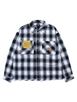 Cheers(チアーズ)/ OMBRE CHECK SHIRT -WHITE/BLACK-