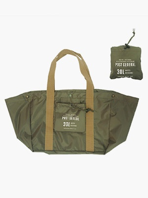 POST GENERAL(ポストジェネラル)/ PACKABLE SHOPPING BASKET BAG -OLIVE-